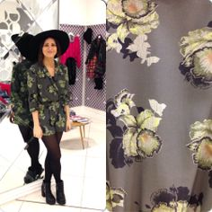 Get Amy's look!! She has funked up this floral playsuit with a pair of chunky biker boots and an oversized floppy hat... What a perfect outfit!! #topshop #personalshopping