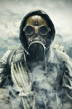 Survival of the Most Prepared. If you're convinced you could survive a zombie apocalypse, you're not going to get far if you don't have the supplies you need. Post Apocalypse, Apocalypse Survival, Apocalypse Fashion, Gas Mask Art, Masks Art, Gas Masks, Post Apocalyptic Art, Post Apocalyptic Fashion, Mad Max