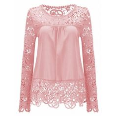15.1$  Watch now - http://dizom.justgood.pw/go.php?t=189105311 - Solid Color Lace Spliced Hollow Out Blouse 15.1$