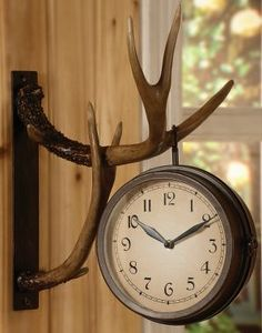 Deer Park Antler Wall Clock Two Sided Metal Rustic Cabin Lodge Hunting Decor. might be a great compromise rather than having the whole deer head like my husband wants. Deer Decor, Rustic Decor, Deer Horns Decor, Western Decor, Farmhouse Decor, Rustic Clocks, Rustic Room, Rustic Style, Vintage Decor