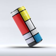 Italian graphic designer @andrea_salamino pays tribute to Neo-Plasticism with a conceptual work that finds a Piet Mondrian-inspired blocked grid across a @pepsi can.