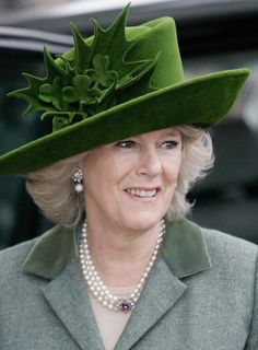 A trio of British royal women attended Ladies' Day at the Cheltenham Festival yesterday. The Duchess of Cornwall repeated her glorious St. Patrick's Day themed hat in loden green velvet… Queen Hat, Camilla Duchess Of Cornwall, Camilla Parker Bowles, Lady Diana, Royal Fashion, Queen Elizabeth, Elizabeth Taylor, Duke And Duchess, British Royals