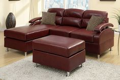 A.M.B. Furniture & Design :: Living room furniture :: Sofas and Sets :: Leather sectionals :: 3 pc Sheila II modern style reversible Burgundy bonded leather upholstered sectional sofa with chaise and ottoman