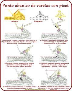 Punto abanico de varetas con picot Filet Crochet, Crochet Picot Edging, Crochet Cord, Crochet Diagram, Crochet Motif, Crochet Stitches For Beginners, Crochet Stitches Patterns, Crochet Basics, Crochet Designs
