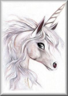 ACEO Limited Edition Print - UNICORN Fantasy Manga Art - LE by Pat Anderson SRA - prints available on eBay and Etsy.