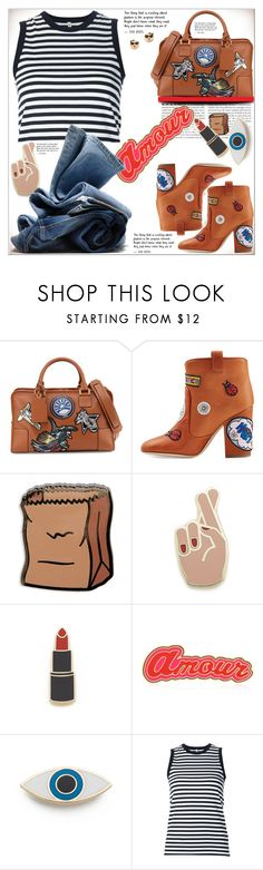 """""""Patch It , Pin It ,Perfect With Denim !"""" by dragananovcic ❤ liked on Polyvore featuring Loewe, Laurence Dacade, PINTRILL, Georgia Perry, Maria Francesca Pepe, R13, H&M and Kate Spade"""