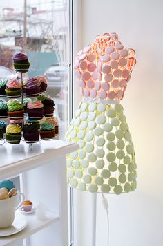 Madame Lucie | Bucharest, Romania A WIRE DRESS FORM COVERED WITH MACAROONS - HOW CUTE