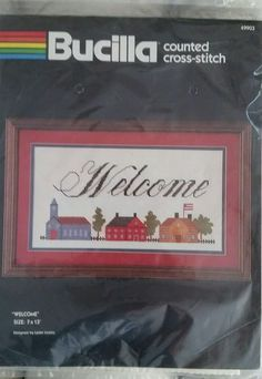 Bucilla Counted Cross Stitch Kit Welcome Buildings USA Flag  7x13 #Bucilla #Frame