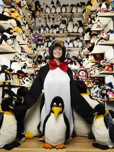 Birgit Berends had amassed a collection of 11,062 different penguin-related items as of March 14, 2011. From Germany, she started her collection at the age of 18 when she was inspired by the animated series Pingu. Her very first penguin dates back to her days in elementary school.      I like her!