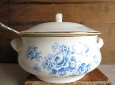 Vintage Crown Staffordshire Serving Dish Blue and by WrensAttic