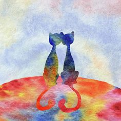 Two Cats In The Morning Silhouette Poster by Irina Sztukowski