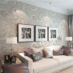 QIHANG Modern Luxury Abstract Curve Wallpaper Roll Mural Papel De Parede Flocking for Striped Cream-white&silver Color 3d Wallpaper Roll, 3d Wallpaper Mural, Striped Wallpaper, Wallpaper Wallpapers, Textured Wallpaper, Bed In Living Room, Living Room Decor, Damask Wall, Modern Minimalist Living Room