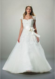 with a wrap a-line chapel train tulle strapless wedding dress