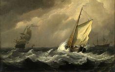 A Small Dutch Vessel Close-Hauled in a Strong Breeze - Willem van de Velde. The National Gallery, London, Great Britain. Rembrandt, Sea Storm, Dutch Golden Age, Stormy Sea, National Gallery Of Art, Nautical Art, Dutch Painters, Sea Waves, Dutch Artists