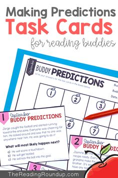 Is your Daily 5 Buddy Reading Center as effective as you'd like for it to be? These digital and printable reading buddies bookmarks are guaranteed to lead to more student engagement. Elementary students can practice making predictions with these bookmarks and graphic organizers. Reading response sheets are also available for additional accountability during literacy centers. A must-have for your reading workshop! Reading Centers, Reading Workshop, Reading Activities, Literacy Centers, Partner Reading, Reading Response, Student Reading, Reading Buddies, Making Predictions