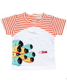 White and orange stripe short sleeve baby T shirt with school of fish print.  100% soft organic cotton. Includes packaging which makes this tee a great gift!  Unisex regular fit.  PIPI & PUPU kids(art)wear - Playful quality organic cotton for kids  Illustrators are our heart and soul!  ...