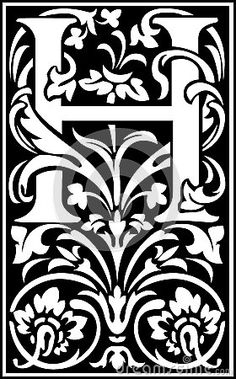 Flowers decorative letter H Balck and White