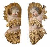 Lot No. 694 Pair of Baroque Seraphim, Tirol ca. Baroque, Gothic, Art Furniture, Candle Sconces, Sculptures, Porcelain, Glass, Auction, Goth