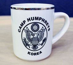 Camp Humphreys Korea Coffee Mug Tea Cup Hot Chocolate Gold Rim Eagle Army #