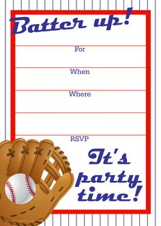Free printable baseball party invitation