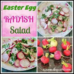 Easter Egg Radish Salad. Sliced Easter Egg Radishes, Parmesan cheese, parsley and a creamy dressing make this colorful dish to use as a salad or a garnish.