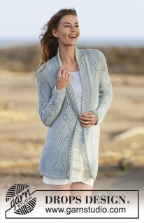 """Knitted DROPS jacket with lace pattern and shawl collar in """"Brushed Alpaca Silk"""" and """"Alpaca"""". Size: S - XXXL ~ DROPS Design"""