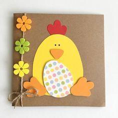 Diy Easter Cards, Spring Crafts For Kids, Easter Art, Easter Crafts For Kids, Handmade Easter Cards, Children Crafts, Tarjetas Diy, Egg Card, Kids Cards