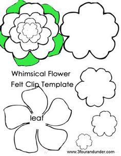Whimsical Flower Felt Clip Template