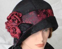 1920s Cloche Hat Flapper Hat 20s Downton Abbey Black Velvet Burgundy Red Vintage Style 22,5 -23 inch