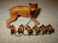 3bfe0e08f33 vintage boxer figurine with six pups - made in Japan