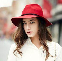 Women Wool Blend Panama Hat Wide Brim Felt Fedora Cap Acrylic Beads Bowknot Band