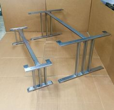 The Three Bars Set With Braces, 2 Dining Table Legs and 1 Cross Brace + 2 Bench Legs and 1 Cross Brace, Heavy Duty Set - Modern Steel Table Legs, Dining Table Legs, Wooden Shelf Brackets, Bench Legs, Barn Door Handles, Welding Table, Industrial Table, Steel Furniture, Bar Set