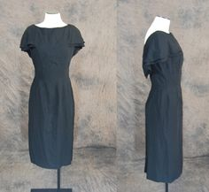vintage 50s Dress  Bonwit Teller Black Cape Collar by jessamity, $68.00