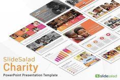 Charity PowerPoint Template by SlideSalad on @creativemarket Professional creative design Presentation Template Slides. Creative, modern, clean, minimalist, trendy, marketing Promotion Promo Posts for Business, Proposal, Marketing, Plan, Agency, Startups, Portfolio Design Layout.