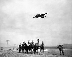 US Army soldiers who were taking a ride on camels stop and wave to a passing bomber in Tunisia.