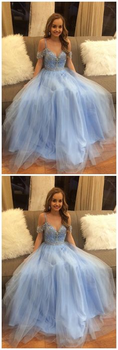 Off Shoulder V Neck Delicate Beading Light Blue A-line Floor Length Custom Long Evening Prom Dresses, 17384 #Graduationdresses