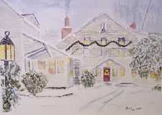 """READY FOR CHRISTMAS""""-scenic,landscape,winter scene,snow,wreath,garland,lamp post,watercolor painting, night time scene,chimney smoke,snowing by WATERcolorARTbyROSIE on Etsy https://www.etsy.com/listing/203839508/ready-for-christmas"""