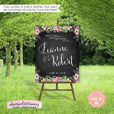 Large Wedding Welcome Signs - Chalk & Flowers Collection - Sunrise  Welcome your guests to your big day with this beautiful printable 16x20