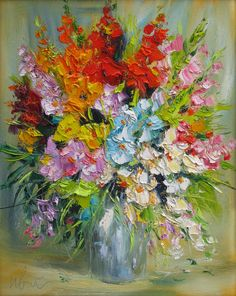 Flowers giclee canvas print of original oil impasto by IvMarART