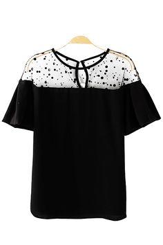Mesh Splicing Black O-neck Falbala Sleeves Casual T-shirt