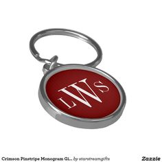 Crimson Pinstripe Monogram Gift Keychain