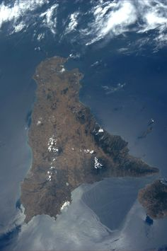 Sicily, in honor of crewmate Luca Parmitano, who shared an AMAZING Italian dinner with us this evening.  KN from space.