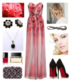 """""""black pendant"""" by marianasm on Polyvore featuring Christian Louboutin, Rodo, Kate Spade, Deepa Gurnani, Givenchy and Chanel"""