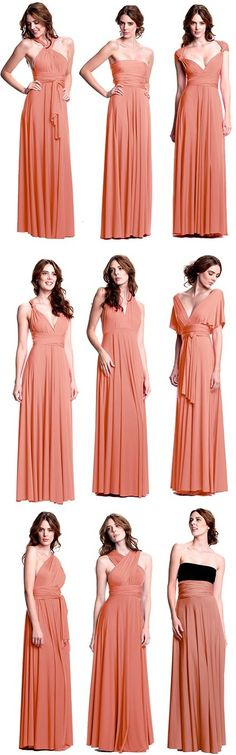 The perfect bridesmaid dress - pick the color & then let your girls choose their own individual styles! http://www.henkaa.com/shopbycolor/sakura-convertible-dress-long-peach-pink-coral.html#.UVC1GxzqmSo