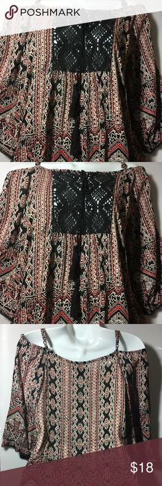 ANGIE Cold Shoulder Embroidered Top Aztec design . Embroidered every edge of the top . 3/4 Sleeve . With spaghetti straps. Tops Blouses
