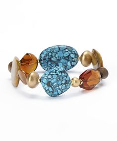 Look what I found on #zulily! Embassy Jewels Turquoise & Goldtone Stretch Bracelet by Embassy Jewels #zulilyfinds