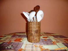 Papel instrucciones detalladas cesta en cucharas de madera de punto