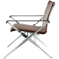 Beverly Chair by Antonio Citterio. The distinct scissored leg of this seat recalls both Poul Kjærholm's PK91 folding stool and the elegant sculpted aluminum forms of Eames's Tandem Seating.