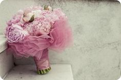 Wedding Bouquet with its own Tutu! So pretty and cute, and of course, can use any color or combinations of colors.