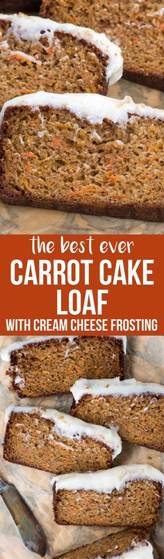 This is the BEST Carrot Cake Loaf Cake you'll ever make. It's soft and FULL of carrot cake flavor with a delicious cream cheese frosting!